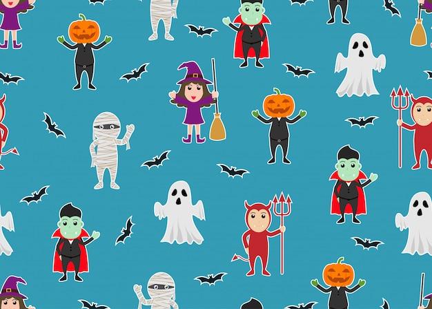 Nahtloses muster des charakterkarikatur halloween-monsterkostüms