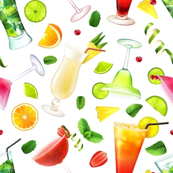 Nahtloses muster des cocktails