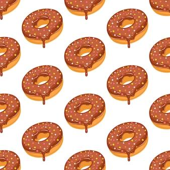 Nahtloses muster des donuts mit schokoladenglasur
