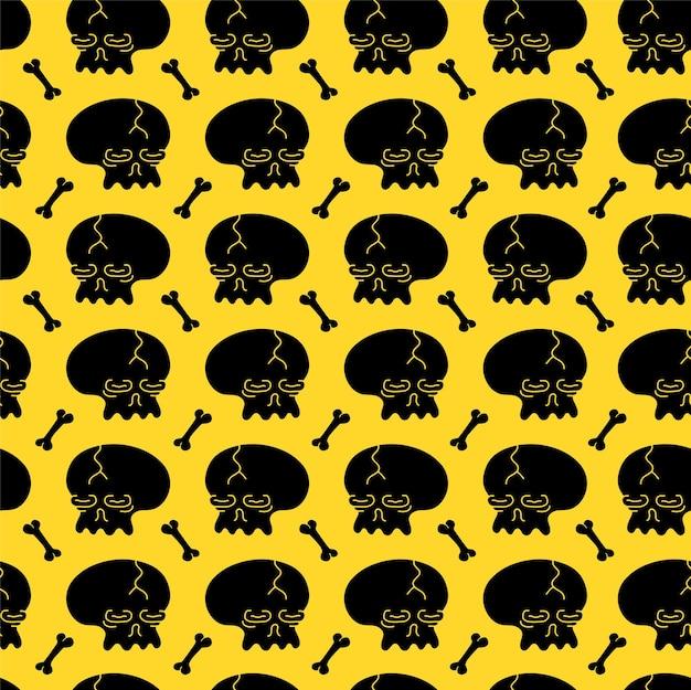 Nahtloses muster des einfachen schwarzen schädels und der knochen auf gelbem hintergrund. gezeichnete gekritzelzeichentrickfilm-figur des vektors hand. trendiger schädel und bonesprint für t-shirt, nahtloses musterkonzept des plakats