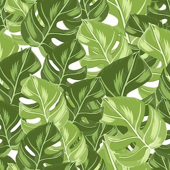 Nahtloses muster des einklebebuches mit zufälligen doodle grünen monstera-blatt-silhouetten