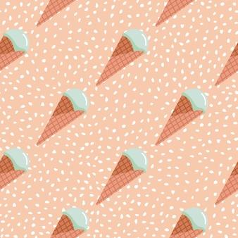 Nahtloses muster des eises. rosa hintergrund mit weißen punkten und türkisfarbener creme im waffelkegel.