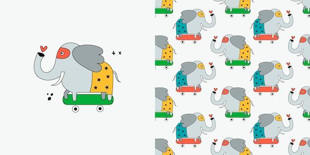 Nahtloses muster des elefanten. gekritzel mit wilden tieren.