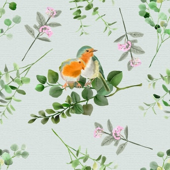 Nahtloses muster des eleganten eukalyptus- und vogelaquarells