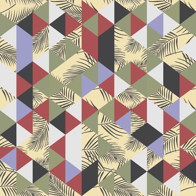 Nahtloses muster des exotischen strandes mit palme und dreieck