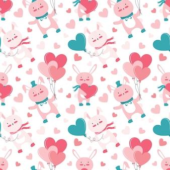 Nahtloses muster des feiertags für glücklichen valentinstag. nette rosa hasen mit geschenken und luftballons