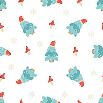 Nahtloses muster des feiertags mit weihnachtsbäumen und dekorativen elementen. neujahrsdesign für geschenkpapier, geschenkboxen, stoff.