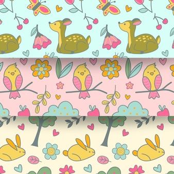 Nahtloses muster des flachen designfrühlings mit tieren und vögeln
