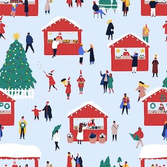Nahtloses muster des flachen vektors der weihnachtsstraßenmesse
