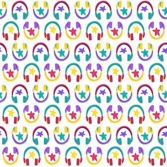 Nahtloses muster des flachen vektors des kopfhörers. musik hören. kopfhörer cartoon
