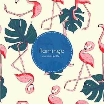 Nahtloses muster des flamingo-vogels