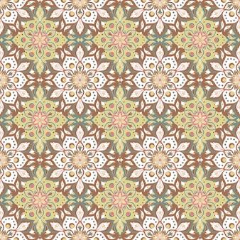 Nahtloses muster des floralen mandalas