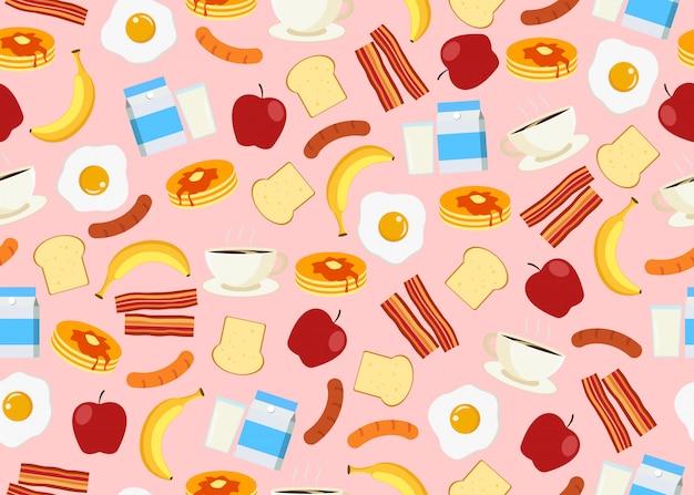 Nahtloses muster des frühstücks
