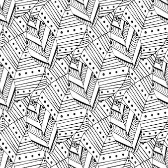 Nahtloses muster des gekritzels mit ethnischen blättern. kreatives frühlingsgewebemuster oder verpackungsdesign. malvorlagen zentangle ausmalbilder