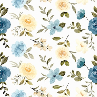 Nahtloses muster des gelben blauen rosen-blumen-aquarells