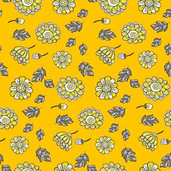 Nahtloses muster des gelben dekorativen blumenfalls.