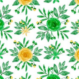 Nahtloses muster des gelben grünen blumenaquarells