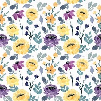 Nahtloses muster des gelben lila blumenaquarells