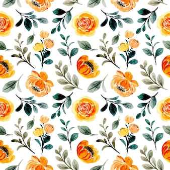 Nahtloses muster des gelben orangefarbenen blumenaquarells