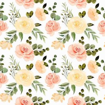 Nahtloses muster des gelben rosenblumenaquarells Premium Vektoren