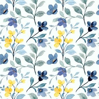 Nahtloses muster des gelben und blauen wilden blumen mit aquarell