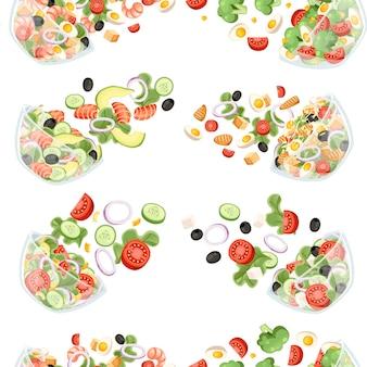 Nahtloses muster des gemüsesalats mit verschiedenen frischen zutatenkarikaturillustration
