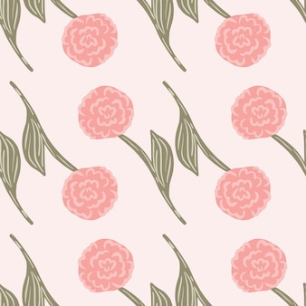 Nahtloses muster des geometrischen blumengartens mit silhouetten der roten rosen. pastellrosa hintergrund. vektordesign für textilien, stoffe, geschenkpapier, tapeten.
