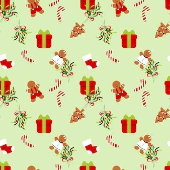 Nahtloses muster des geschenk- und weihnachtsplätzchens.