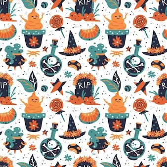 Nahtloses muster des glücklichen halloween. hexenhut mit blumen, süßigkeiten, schädel, grab, stern, kürbis, bohne, mandrake, kessel, giftflasche.