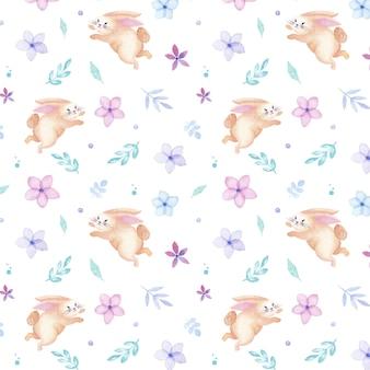 Nahtloses muster des glücklichen osterferien-aquarellkaninchens mit blumen und blättern
