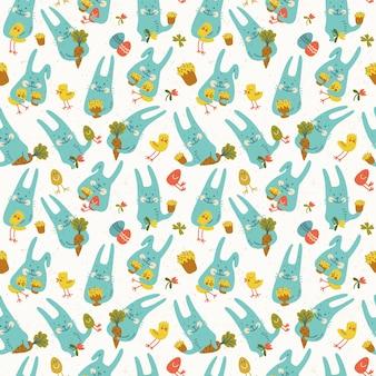 Nahtloses muster des glücklichen osters mit lustigen blauen kaninchen, die hühnereier karotten und blumen halten