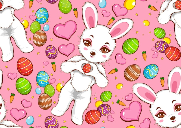 Nahtloses muster des glücklichen ostertages, kaninchen-weiß-süßes, häschen-charakter-design.