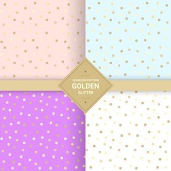 Nahtloses muster des goldenen funkelns auf pastellhintergrund