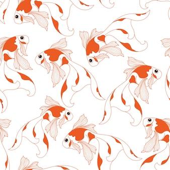 Nahtloses Muster des Goldfisches auf weißem Hintergrund