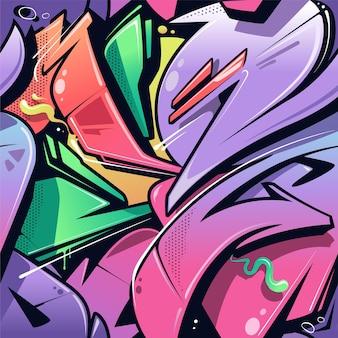 Nahtloses muster des graffiti des wilden stils.