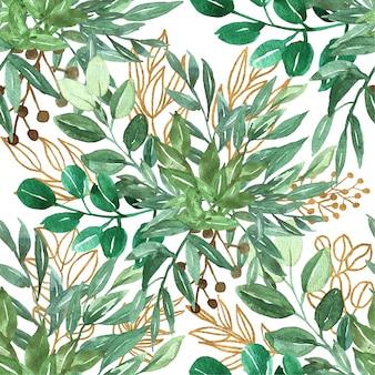 Nahtloses muster des grünblattes und -goldes Premium Vektoren