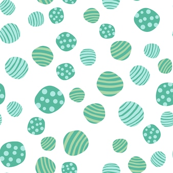 Nahtloses muster des grünen kiesels. handgezeichnete steine tapete. abstrakter geometrischer gepunkteter beschaffenheitshintergrund. vektor-illustration