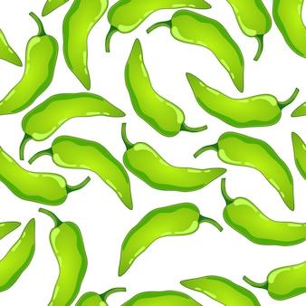 Nahtloses muster des grünen pfeffervektors. scharfes gemüse mit mexikanischem chili. scharfe paprika-textur.