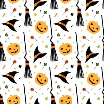 Nahtloses muster des halloween-festvektors. hexenhut, besen, süßigkeiten, kürbis