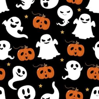 Nahtloses muster des halloween-geistes.