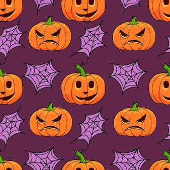 Nahtloses muster des halloween-kürbises mit netz auf violettem hintergrund
