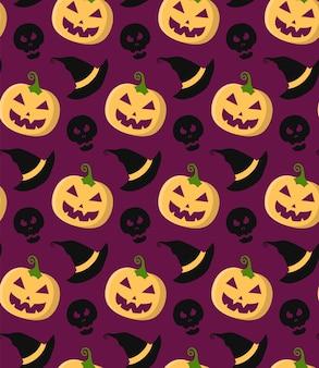 Nahtloses muster des halloween-vektors mit kürbis, schädel, hexenhut im trendigen flachen stil.