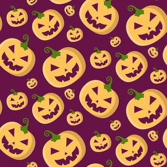 Nahtloses muster des halloween-vektors mit kürbissen im trendigen flachen stil.