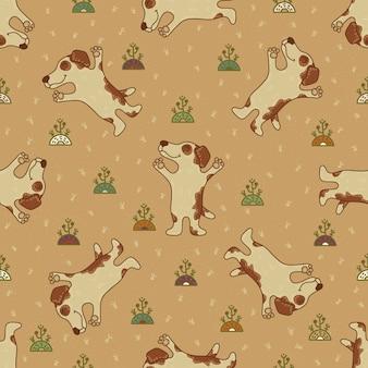 Nahtloses muster des handwerksgekritzels mit hunden