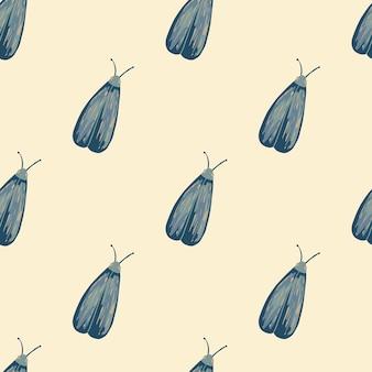 Nahtloses muster des hellblauen insektendrucks.