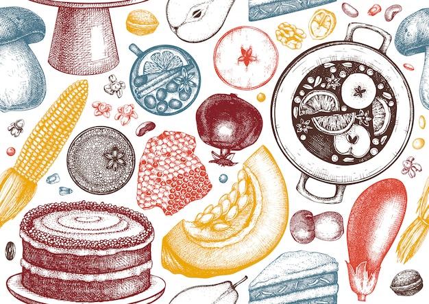 Nahtloses muster des herbsterntefestivals. traditionelle herbstsaisonhintergrund mit handgezeichneten pflanzen, essen, getränken, obst, gemüse, backillustration.