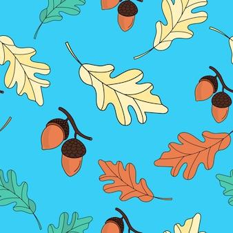Nahtloses muster des herbstes eiche verlässt farbvektor-illustration für geburtstag und partei, karte