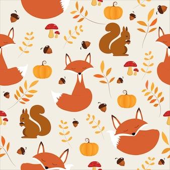 Nahtloses muster des herbstes mit nettem fox und eichhörnchen.