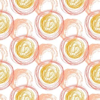 Nahtloses muster des herbstes mit orange kreisbeschaffenheiten. handgezeichnete mode hipster hintergrund