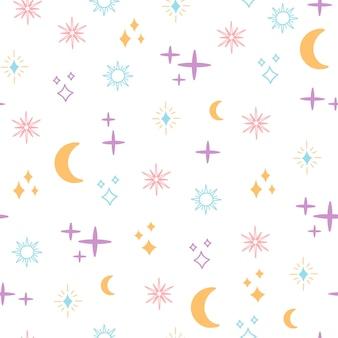 Nahtloses muster des himmlischen raumes, farbige magische objekte mond, sonne und sterne, einfache form, böhmische horoskopelemente. moderne trendige vektorgrafik im boho-stil auf weißem hintergrund für textil